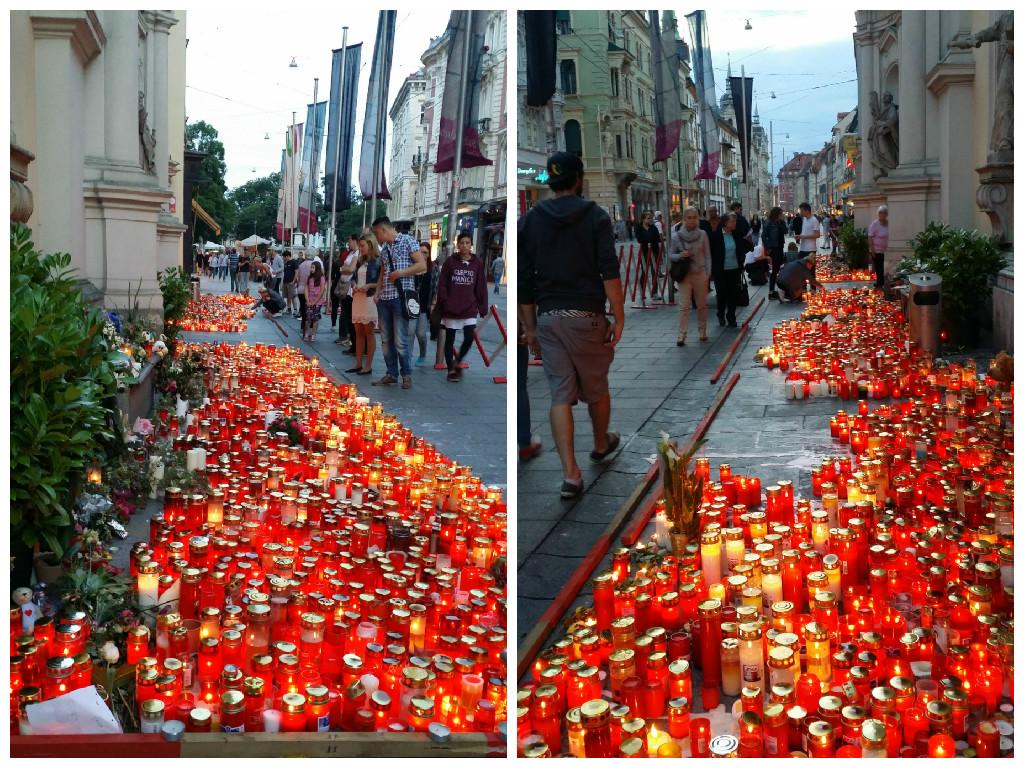 الشموع في مكان سقوط الضحايا