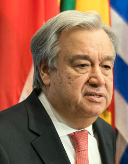 Press stakeout by Secretary General Antonio Guterres.